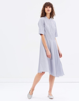 Woman Dress Summer 2018 Apparel Short Sleeve Woven Striped Midi Dress Wholesale